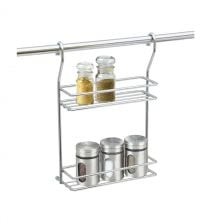 2-Tier Kitchen Chromed Wire Hanging Spices Storage Rack With Hooks