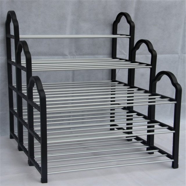4-Tier Wire and Plastic Grid  Shoe Storage Rack