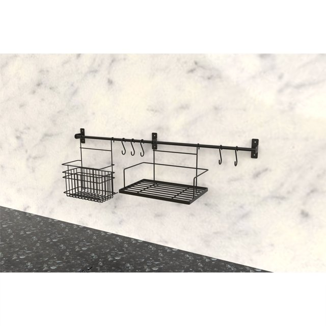 Wall-mounted Wire Black Kitchen Dish Drying Rack